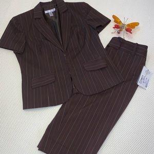 Nine & Co Nine West Brown Pinstripe Short Suit Set